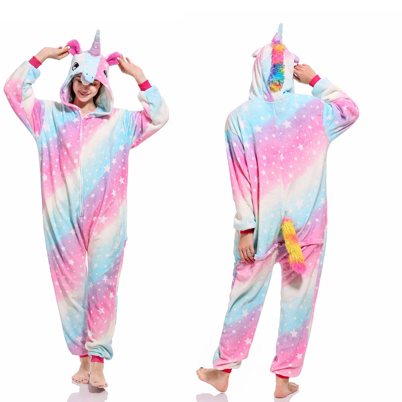 2019 Winter Women Men Adults Animal Pajamas Kigurumi Unicorn Sets Cartoon Flannel Hooded Stitch Warm Sleepwear Unicorn Onesies