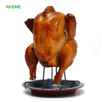 Upright Carbon Steel Chicken Roaster Rack With Tray Nonstick BBQ Grilling Cooking Pans Barbecue Tools Christmas