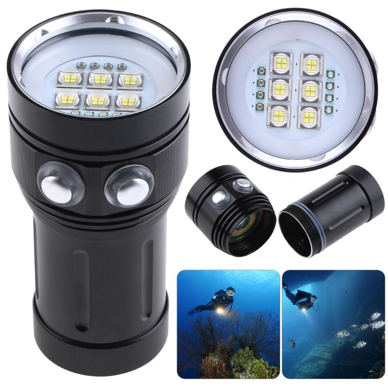 Diving Flashlight 18650 Torch Underwater Photography Lights Video Lamp 14 LED Scuba Photo lighting Fill Light