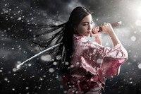 samurai kimono sword girl poster silk fabric cloth print wall sticker Wall Decor custom print