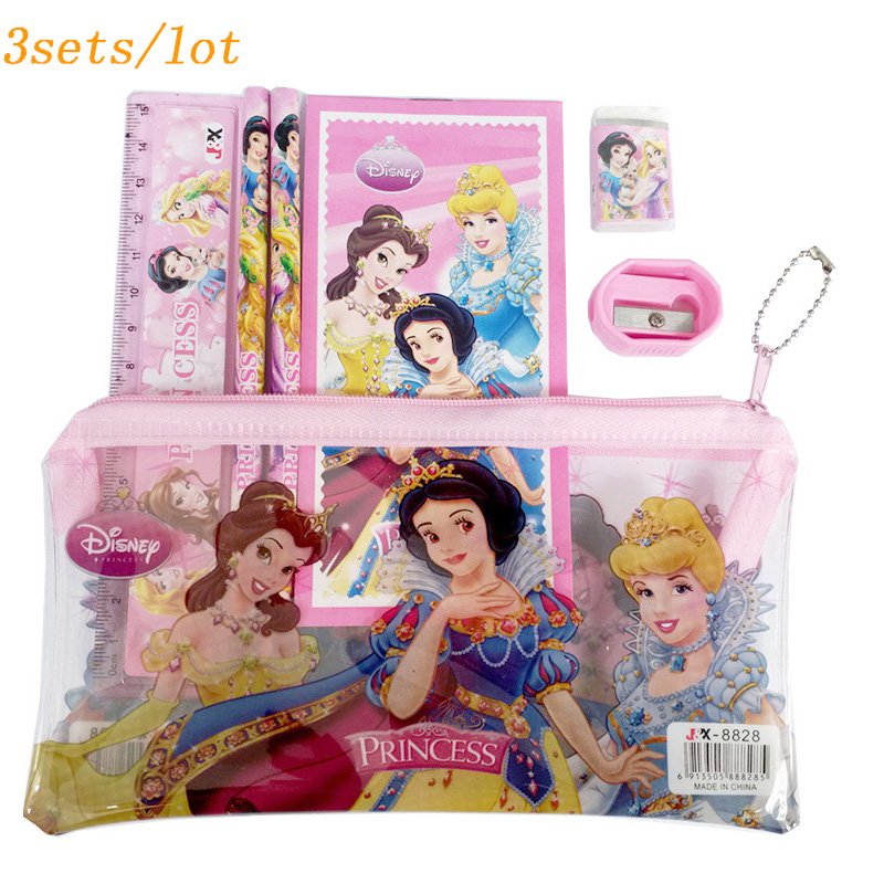 3sets/lot princess high quality pencil case cute Kids school supplies stationery set cartoon pencil case Bag study supplies cartoon pencil case