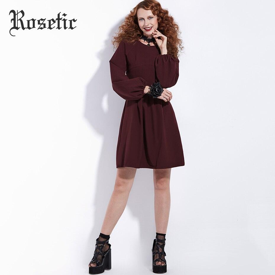 Rosetic Gothic Kleid Vintage Burgund Frauen Herbst Laterne Ärmel - Damenbekleidung - Foto 2