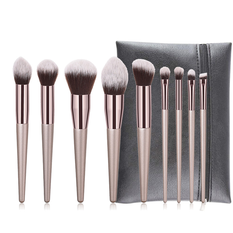 9pcs luxury champagne professional makeup brushes set foundation powder eyeshadow concealer eyebrow kabuki cosmetic brush tool9pcs luxury champagne professional makeup brushes set foundation powder eyeshadow concealer eyebrow kabuki cosmetic brush tool