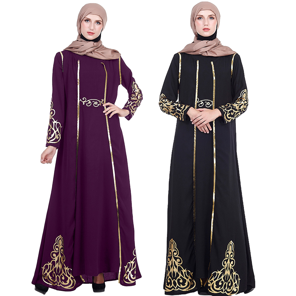 2PCS Sets Elegant Muslimah Hot Stamping Abaya Turkish Singapore Full Length Jilbab Dubai Female Muslim Islamic