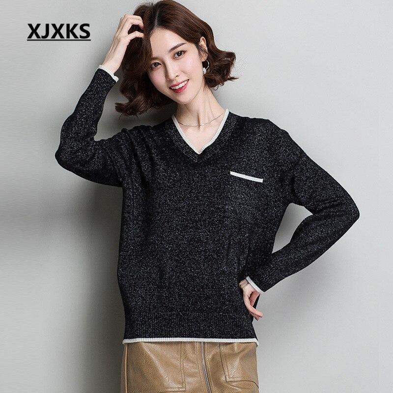 kaki V Chandail Xjxks Mode De 100Pure Noir Laine Pull bleu 2019 cou Qualité Hiver Nouvelle Confortable Automne Haute Femmes USzVMp