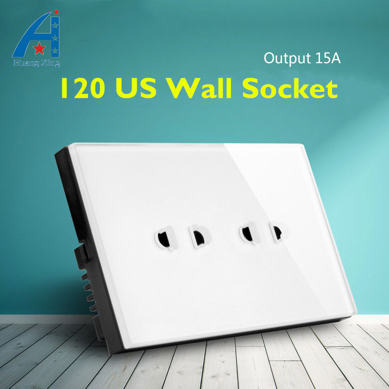 цена на US Standard 4 pin / 6 pin Wall Socket, White/Black color High quality Glass panel, 15A 110-240V Double wall outlet,Free shipping
