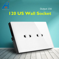 HUANGXING Simple Design US AU Standard Wall Socket White Black And 2Pin 3Pin Tempered Glass Panel