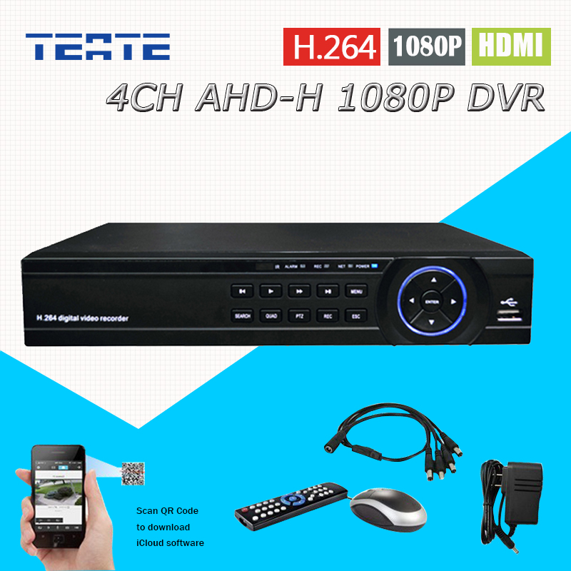 TEATE 4ch CCTV System AHD-H 1080P DVR surveillance NVR 4 channel AHD-H HDMI Standalone security WIFI video recorder T-G04D10PB06 free shipping h 264 ahd cctv dvr 16 channel security camera system stand alone hdmi d1 video surveillance digital video recorder