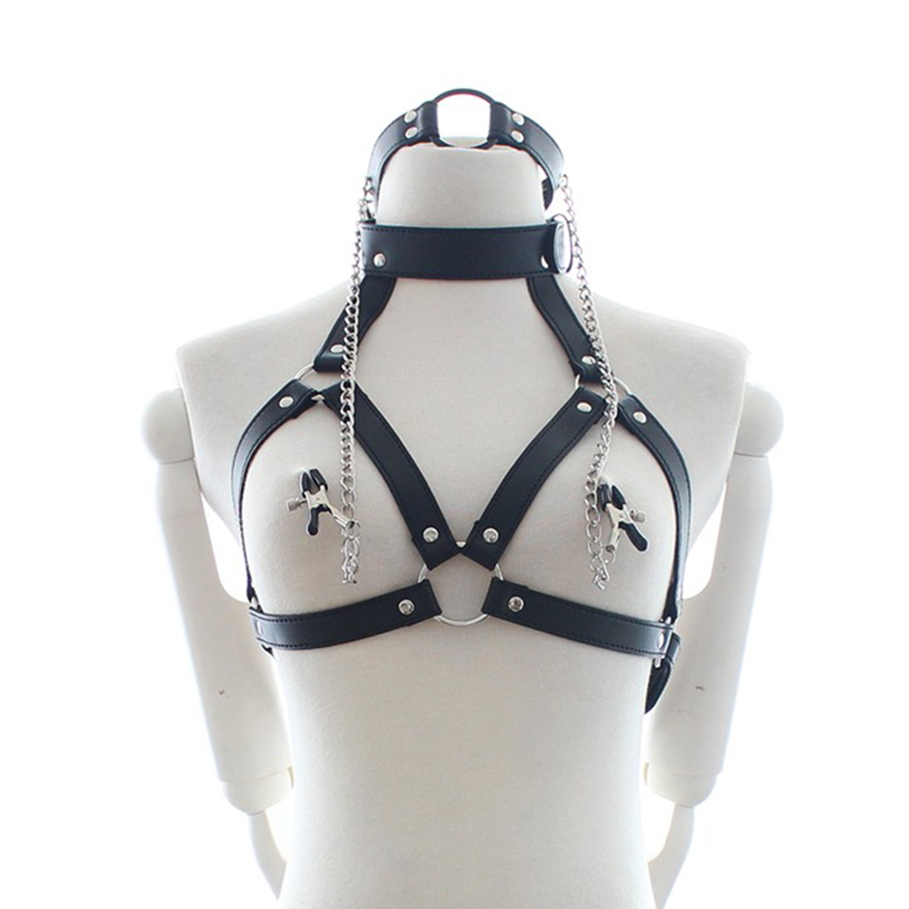 Рот кляп SM Связывание Регулируемый средства ухода за кожей жгут из искусственной кожи груди зажимы ограничения интимные игрушки для женщин зажимы для сосков