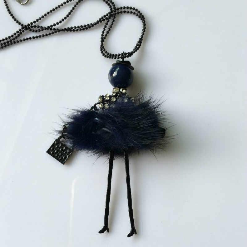 2017 модное Кукольное ожерелье с подвеской, милое платье со стразами, милое женское Кукольное ожерелье, цепочка-свитер, Хрустальная сумка, эффектные ювелирные изделия