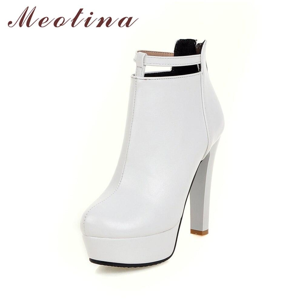 Meotina Femmes Hiver Bottes Sexy Talons hauts Cheville Bottes Rouge Plate-Forme bottes 2018 Chaussures Femme Blanc Noir Zip Chaussures Grande Taille 44 45