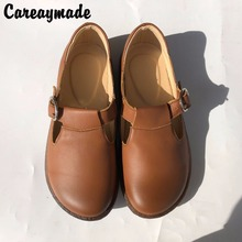 Shoes Art RETRO Genuine-Leather Round Pure Careaymade Top-Layer Japanese 4-Colors
