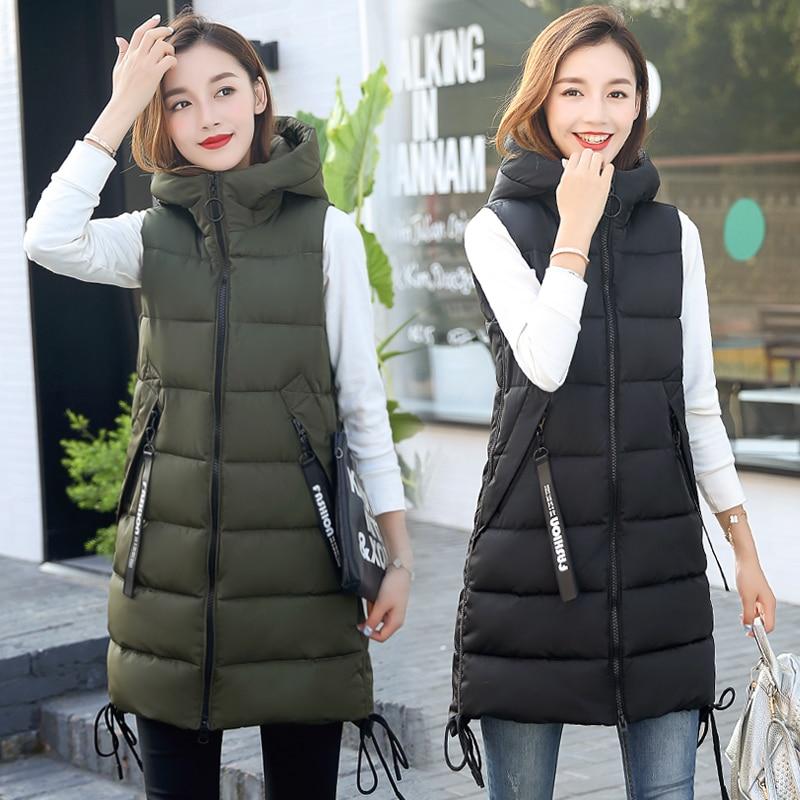 Brieuces  Autumn Winter Vest Women Waistcoat 2020 Female Sleeveless Vest Jacket Hooded Warm Long Vest Coat Colete Feminino