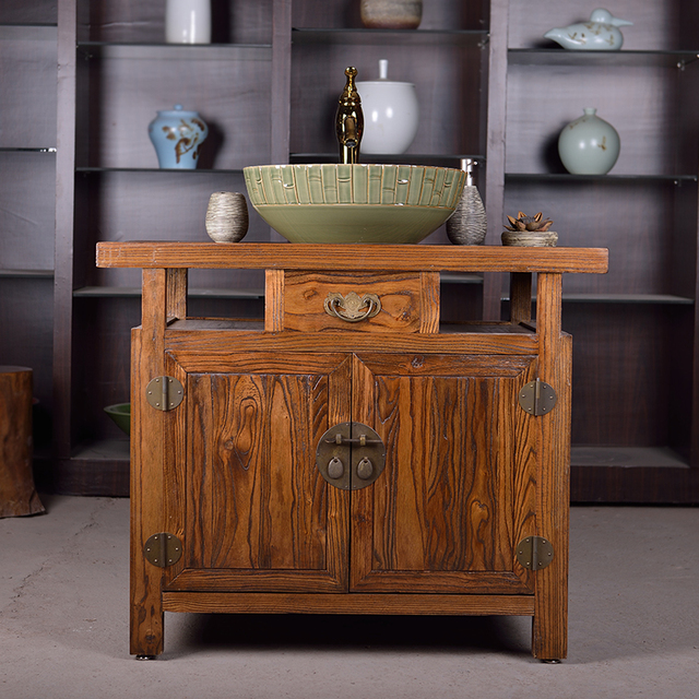 Moyer antiguos chinos jardín madera mueble de baño gabinetes de baño ...