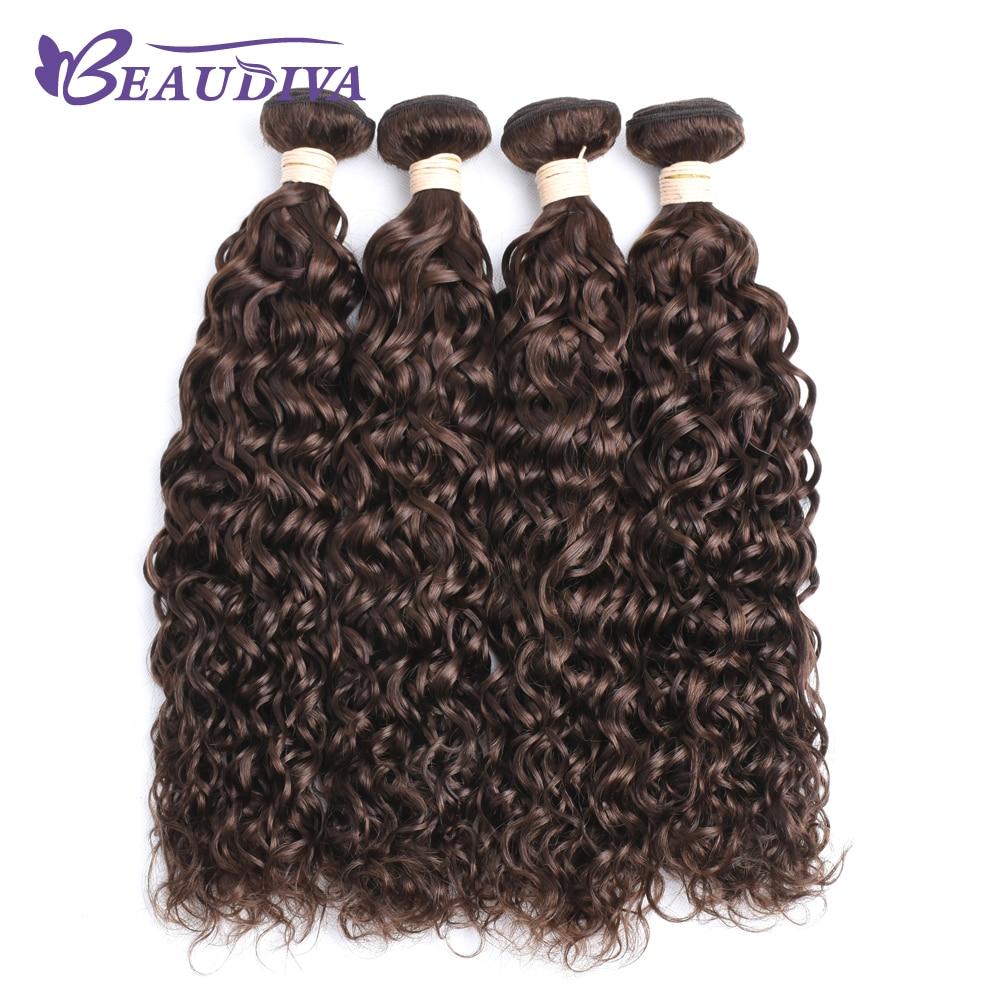 BEAUDIVA Per Colored 4 Medium Brown Color 3 bundles Brazilian Human Hair Weave Water Wave Brazilian