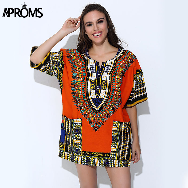 Aproms Traditional African Clothing for Women Shirt Uni Orange Classic Cotton Dashiki Tops Plus Size Summer Print Blouse
