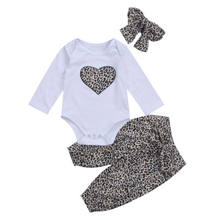 2cfa0f388 Baby Clothing Newborn Kid Baby Girl Leopard Floral Clothes Long Sleeve  Heart Romper +Floral Pants +Headband Outfit Set