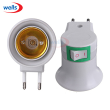 Newest 1Pcs  E27 EU Type Plug Adapter LED Light Male Socket Converter With ON/OFF Button Holder use for Bulb Lamp