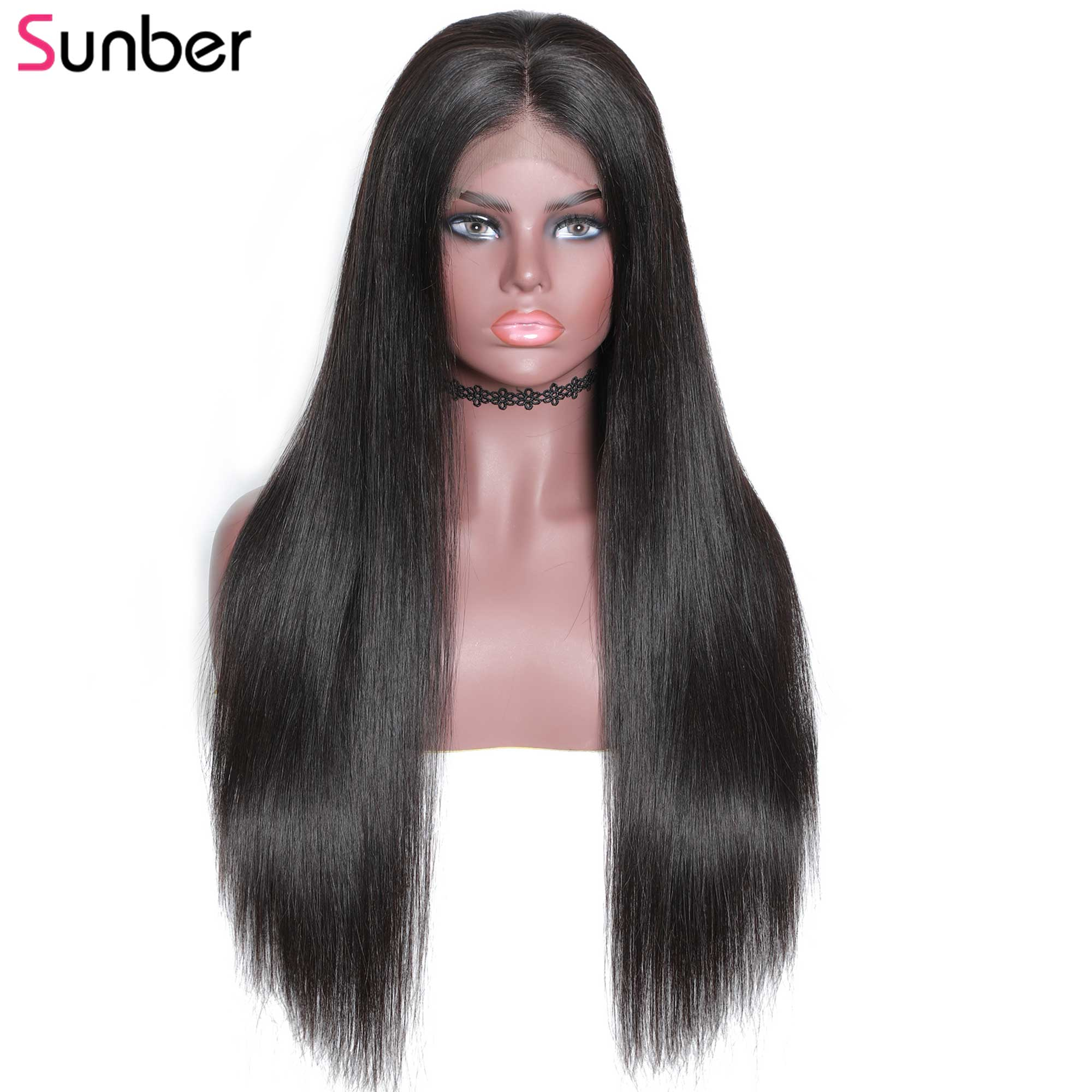 Sunber Hair 180 Density Lace Front Human Hair Wigs For Black Women Brazilian 13X4 Straight Lace