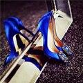 Novo 10 cm Saltos Ultra Finos Sapatos De Grife Mulheres Luxo Cetim bombas de Cristal Sapatos de Noiva de Salto Alto Sapatos de Casamento Sapatos de Noiva mulheres