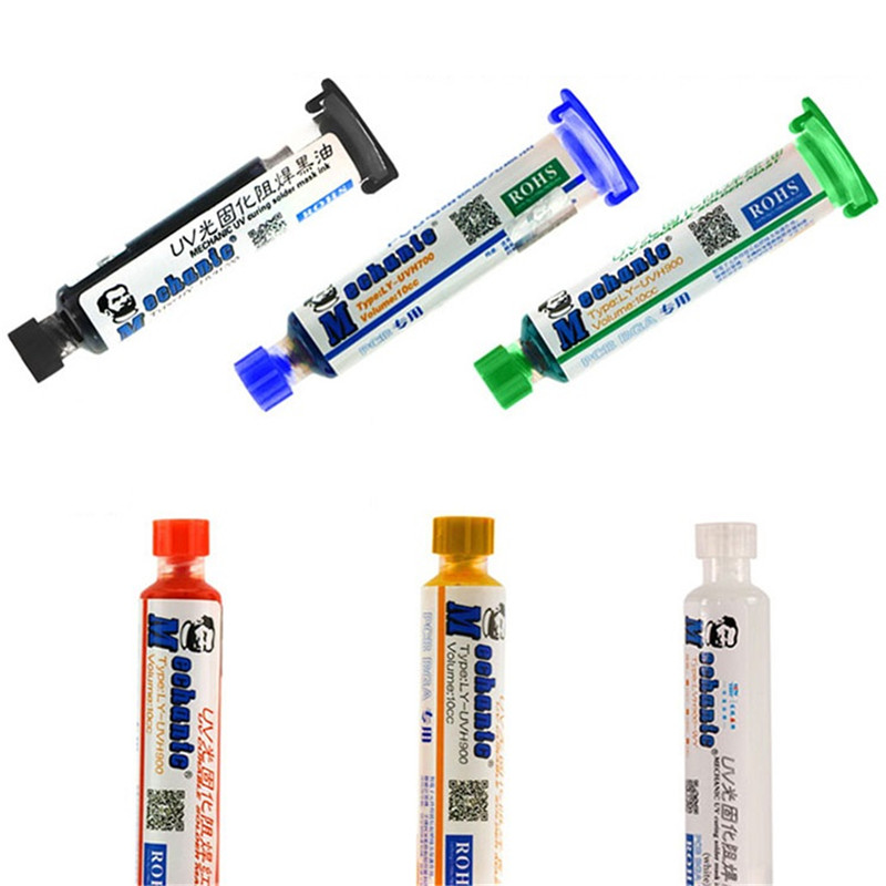1Pc UV Curable Curing Solder Mask 10CC Soldering Paste Flux Cream Welding Fluxes Oil Colorful For PCB BGA Circuit Board Protect