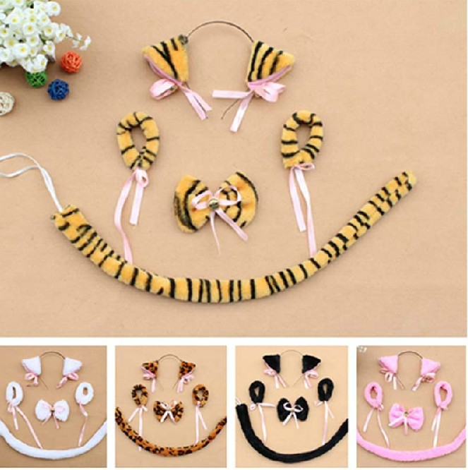 Cosplay plush black white black cat ear headband bow tie tail Bracelet animal halloween party decoration party items 5 colours