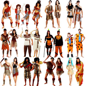 sexy leopard savage caveman croods flintstones primitive indian clothing carnival halloween costumes for men women adult fancy(China)