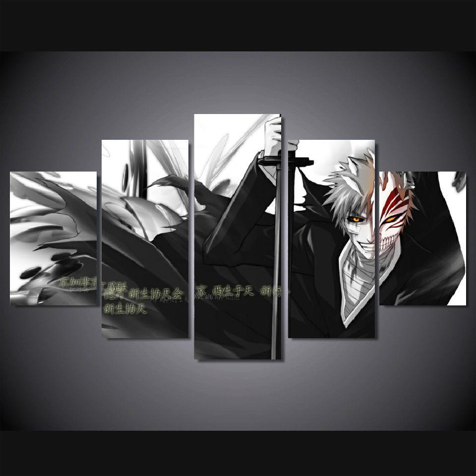 5 Panels Wall Art Anime Bleach Ichigo Kurosaki Pieces Paintings Canvas Poster Unframed In Painting Calligraphy From Home Garden On Aliexpress