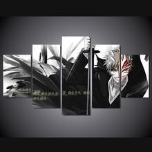5 Panels Wall Art Anime Bleach Ichigo Kurosaki 5 Pieces Paintings Canvas Poster Unframed