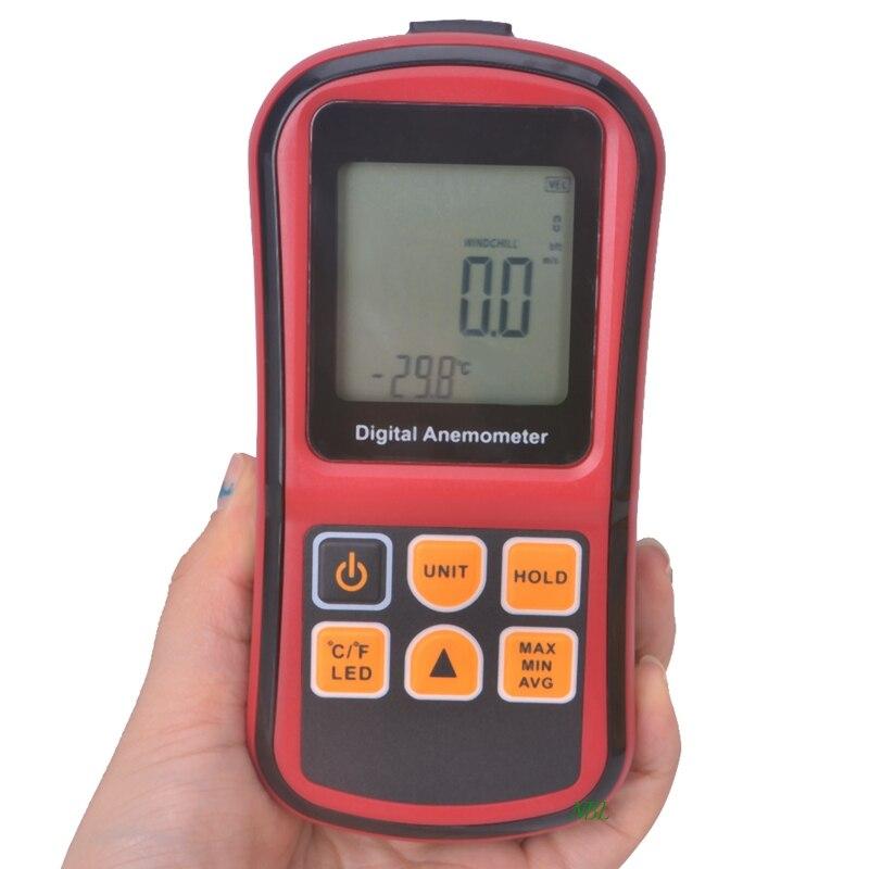 Digital Mini Anemometer High Accuracy LCD Display Wind Tachometer Meter GM8901 Air Velocity Temperature Meter Measuring 0~45m/s portable 0 45m s digital anemometer high precision lcd display wind speed air velocity temperature measuring meter