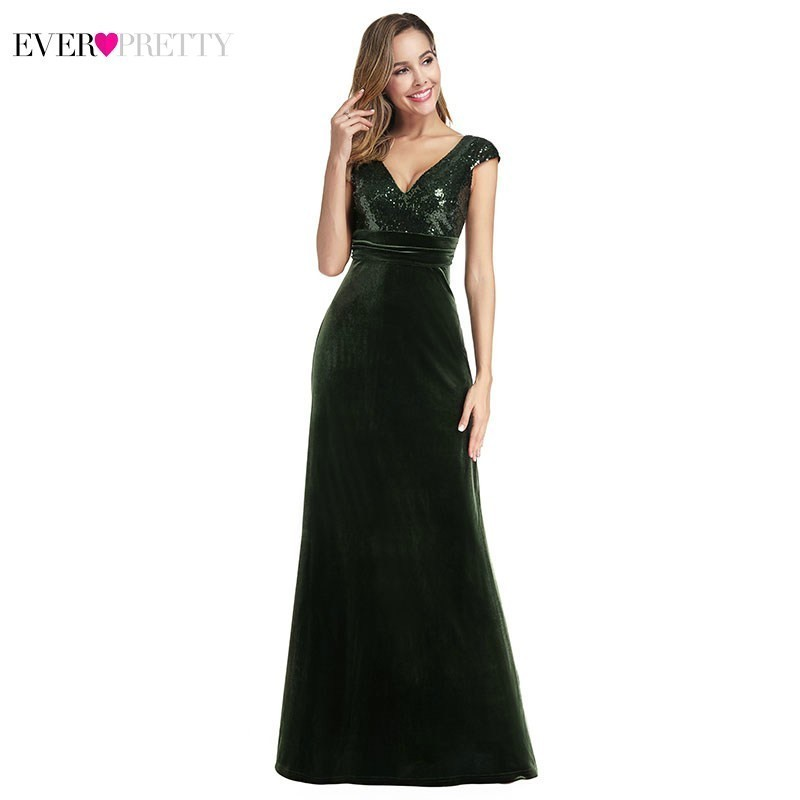 Ever Pretty Dark Green Mermaid Prom Dresses Long V-Neck Sequined Velvet Elegant Formal Party Gowns Vestidos De Fiesta De Noche