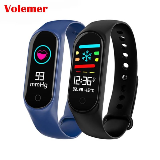 Volemer M3S Smart Bracelet Color Screen Blood Pressure Waterproof Fitness Tracker Heart Rate Monitor Smart Band for Android IOS