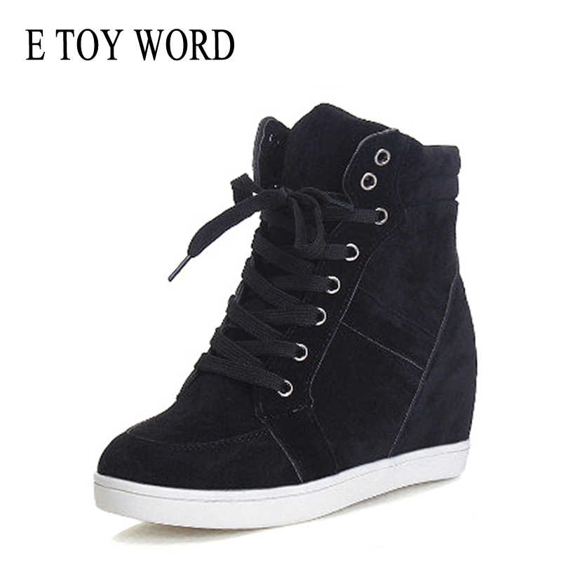 E TOY WORD 2019 Autumn Women casual Shoes Invisible height increase Platform Woman High Top Sneakers Lace Up flock women shoes