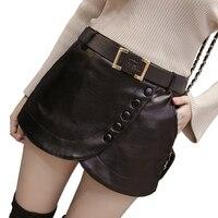 2017 New Women S Black Leather Shorts Skirts High Waist Skinny Buttons Side Zipper PU Shorts