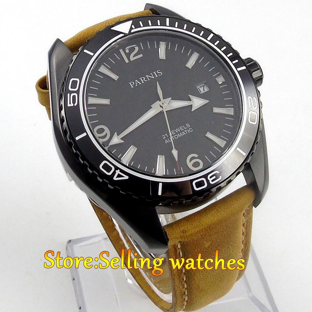 45mm Parnis PVD case Sapphire Glass Ceramic Bezel Automatic mens Watch 45mm parnis sapphire glass ceramic bezel luminous automatic men 316l watch