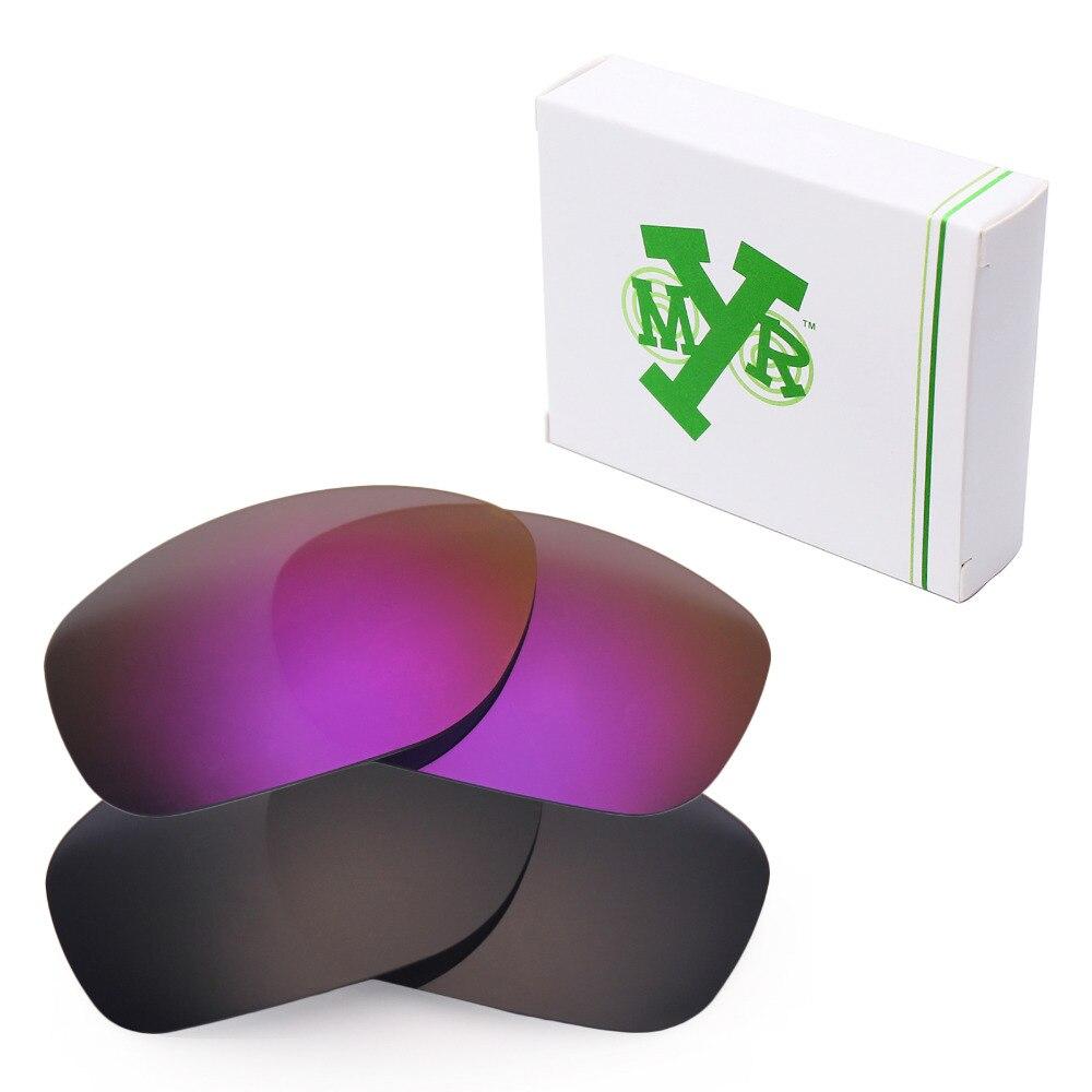 2 пары mryok ПОЛЯРИЗОВАННЫЕ замены Оптические стёкла для Oakley питбуль Солнцезащитные очки для женщин Стелс черный и плазменных фиолетовый