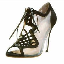Newest Fashion Mesh Women's Stiletto Heel Sandals Shoes Black Platform Pumps