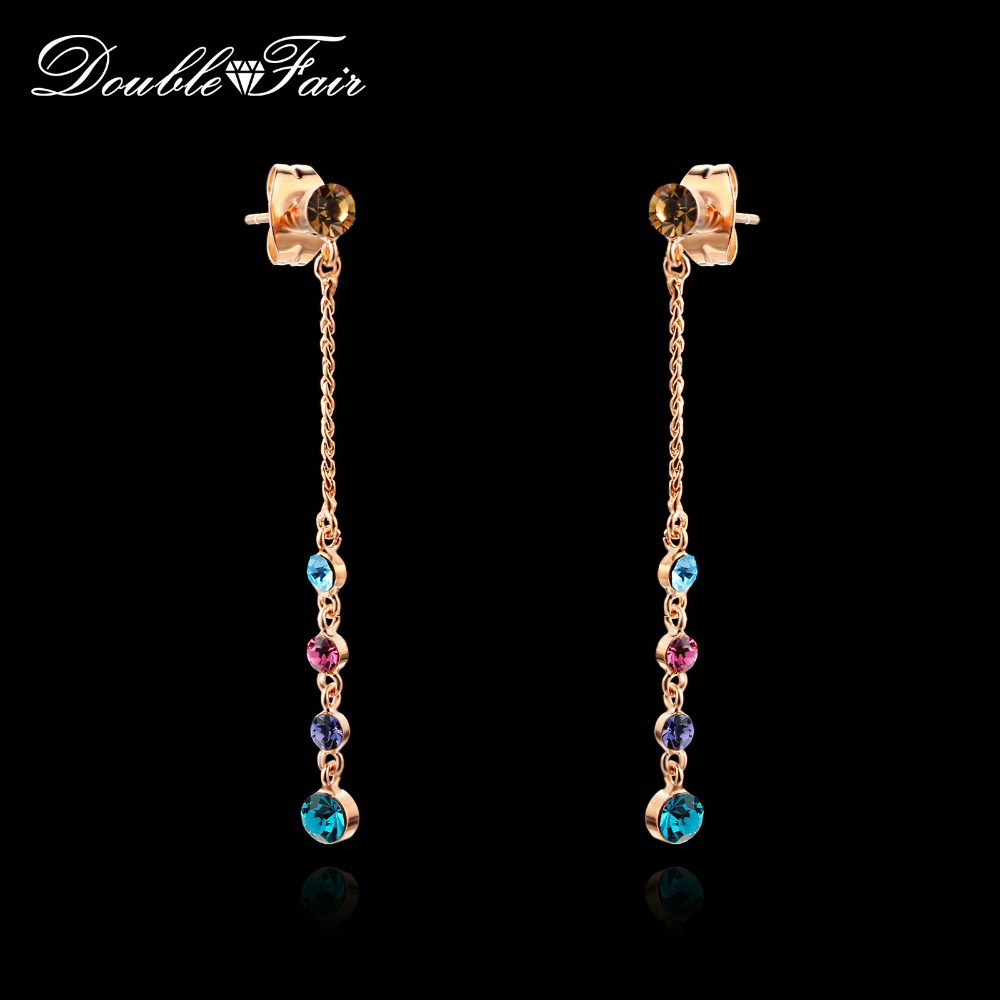 Top Quality Cubic Zirconia Long Line Drop Earrings Rose Gold/Silver Color Fashion Jewelry Gift For Women Brincos DFE715M