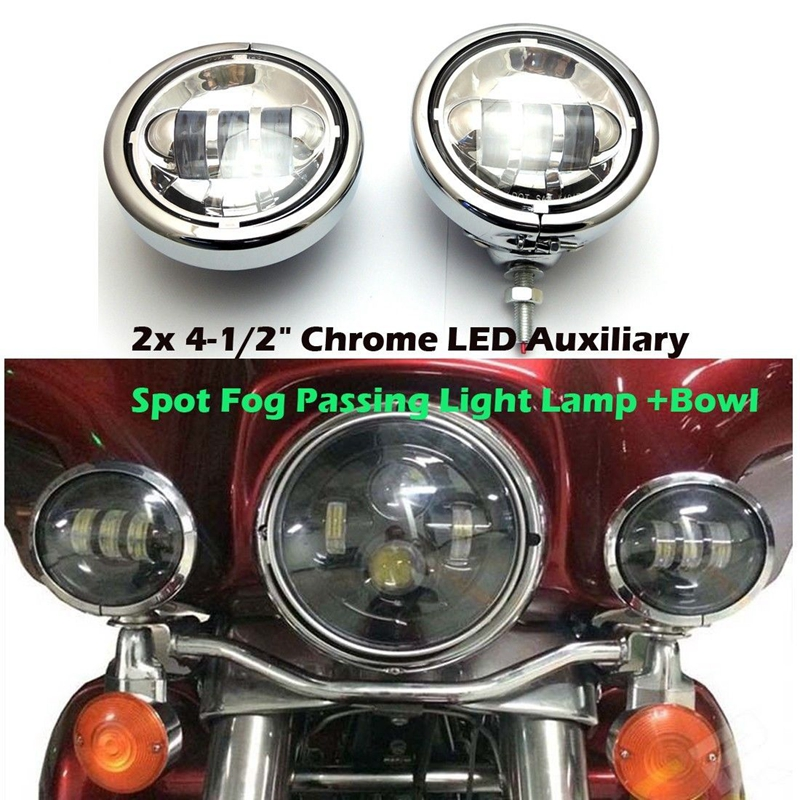 """4.5/"""" Motorcycle Passing Fog Light Bracket Housing for Harley Black"""