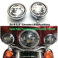 "4.5"" LED Projector Auxiliary Passing Spot Fog Head Light Lamp + 4 1/2"" Motorcycle Fog Lamp Housing For Harley Touring Electra"