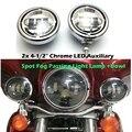 """4.5 """"Proyector LED Auxiliar Pasando Spot Luz Antiniebla Head Light + 4 1/2"""" Niebla Caja De La Lámpara de la motocicleta Para Harley Touring Electra"""