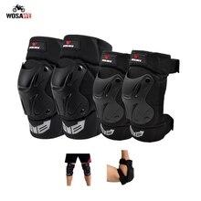 WOSAWE Motocicleta 4 Pçs/set Elbow & Knee Pads Armadura Esporte de Proteção Moto Motocross Protector Guardas de Proteção Engrenagem Kit Shell PE