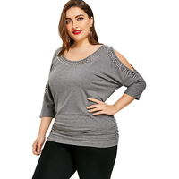 T Shirt Women Shirred Cold Shoulder T Plus Size T Shirt Fashion Rivet Tops Causal Spring