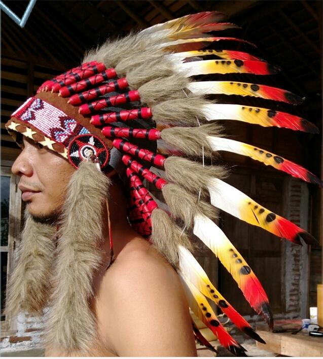 North American Indians Hat Feather Headdress Cacique Caps
