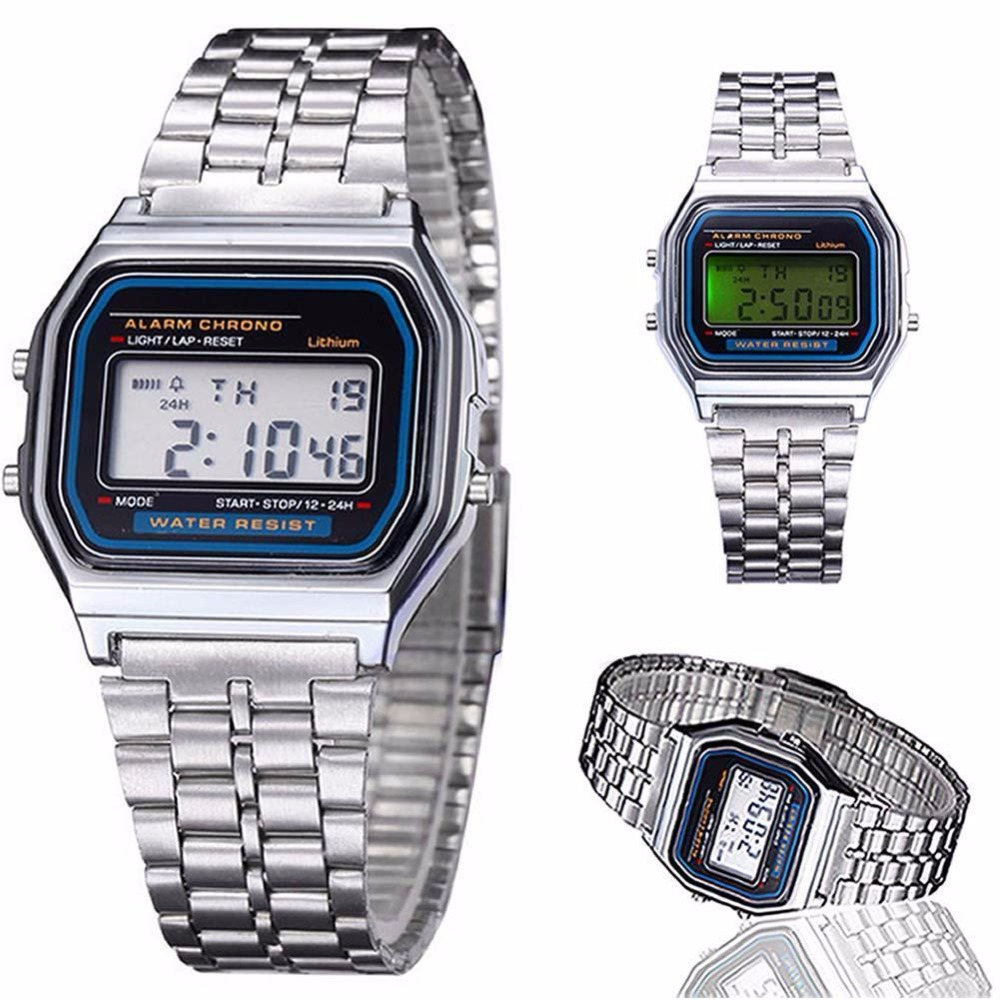 New Classic Men Women LED Digital Stainless Steel Stopwatch Wrist Watch Silve