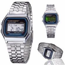 New Classic Men Women LED Digital Stainless Steel Stopwatch Wrist Watch Silve