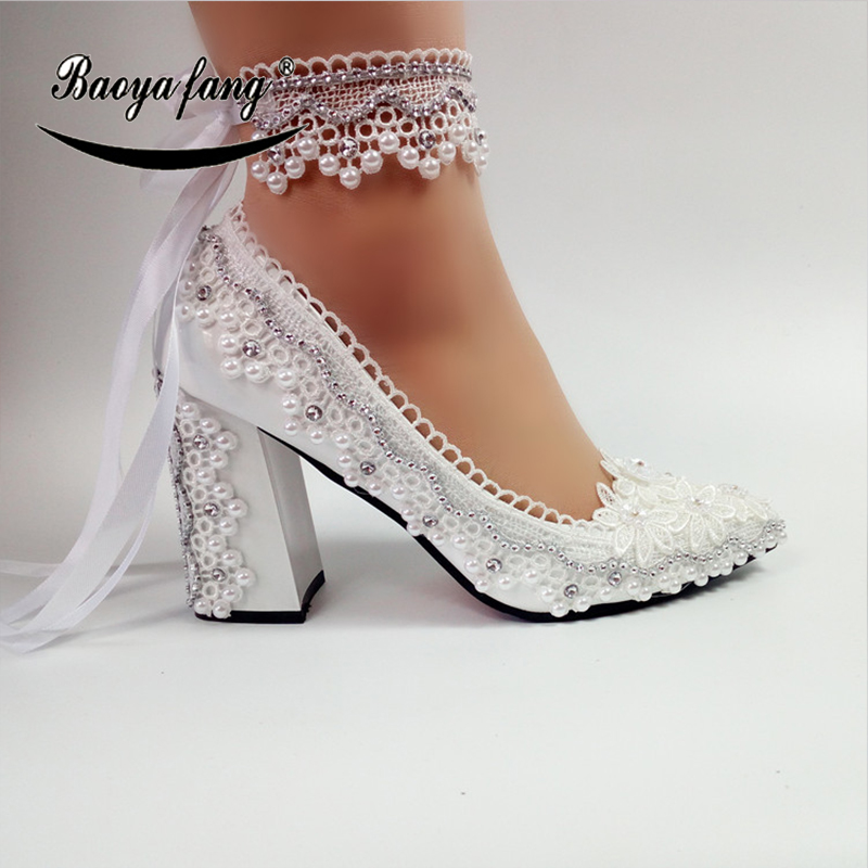 BaoYaFang New Arrival Thick Heel Pointed Toe Womens Wedding Shoes High Heels ladies fashion shoes woman White Lace ankle strapBaoYaFang New Arrival Thick Heel Pointed Toe Womens Wedding Shoes High Heels ladies fashion shoes woman White Lace ankle strap