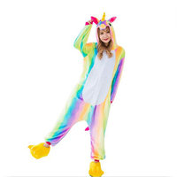 New Children Colorful Rainbow Unicorn Pajamas Cute Winter Animal Kiguruma Flannel Onesie Pyjamas Costume Girls Women