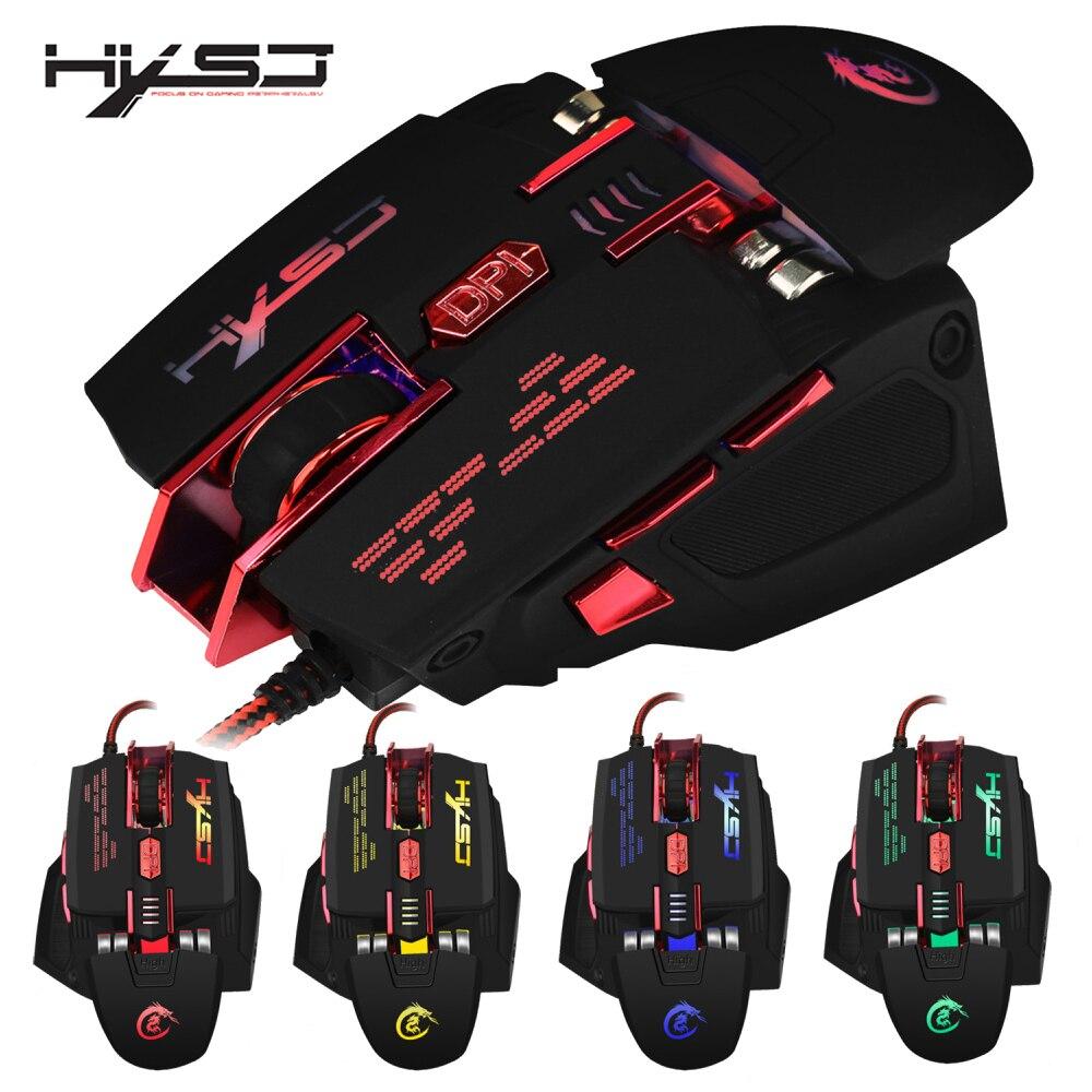 Hxsj 7 teclas macro programación ratón de cuatro colores resplandor ratón 4000 dpi dos mano descanso y peso configuración ajustable
