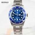 Lujo Reloj Reginald Hombres Bisel Giratorio GMT Fecha de Zafiro Sport azul dial de Reloj de Cuarzo de Acero Inoxidable Reloj Hombre